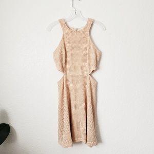 Club Monaco Dresses - Club Monaco Peach Knit Lace Cut Out Mini Dress 328